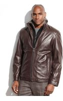 Marc New York Shelby Leather Fauxfurcollar Jacket - Lyst