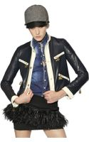 DSquared2 Contrast Trim Nappa Leather Jacket - Lyst