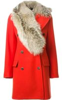 MSGM Fur Collar Coat - Lyst