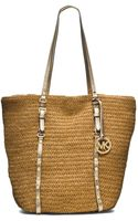 Michael Kors Large Studded Straw Shopper Tote - Lyst