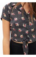 Forever 21 Dotted Floral Tiefront Blouse - Lyst