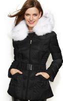 Laundry By Shelli Segal Faux Fur Hooded Belted Down Puffer Coat - Lyst