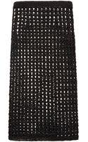 Proenza Schouler Black Open Crochet Knit Pencil Skirt - Lyst