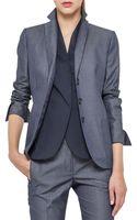 Akris Sea Island Cotton Jacket Denim Blue - Lyst