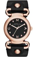 Marc By Marc Jacobs Womens Molly Black Leather Strap Watch 30mm - Lyst
