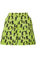 Osman Yousefzada Printed Sateen Loose Short in Lime Green - Lyst