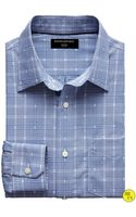 Banana Republic Factory Slim Fit No Iron Check Shirt Bluewhite Check - Lyst