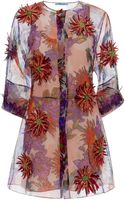 Blumarine Printed Silk Dahlia Embroidery Long Sleeve Dress - Lyst