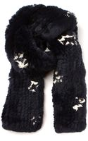 Thakoon Navy Rabbit Fur Scarf Embellished with White Prints - Lyst