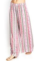 Love 21 Striped Woven Rose Pants - Lyst