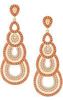 Fragments Beaded Crystal Cascading Chandelier Earrings Coral - Lyst