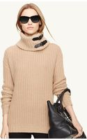 Ralph Lauren Black Label Leathertrim Ribbed Turtleneck - Lyst