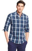 Tommy Hilfiger Custom Fit Heathered Plaid Shirt - Lyst