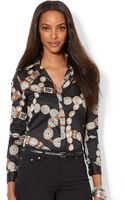 Lauren by Ralph Lauren Patterned Cotton Sateen Shirt - Lyst