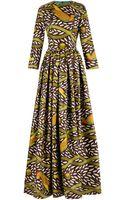Stella Jean Tina Printed Waxedcotton Maxi Dress - Lyst