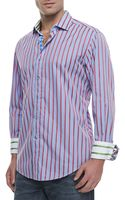 Robert Graham Elba Stripedchecked Sport Shirt Bluered - Lyst