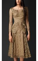 Burberry Embroidered Lace Slash Neck Dress - Lyst