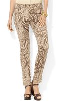 Lauren by Ralph Lauren Patterned Stretch Skinny Jeans - Lyst