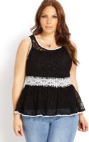Forever 21 Bombshell Lace Peplum Top - Lyst