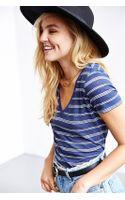 Urban Outfitters Uo Stripe Sheer Vneck Tee - Lyst