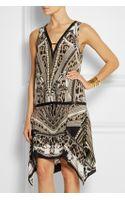 Roberto Cavalli Leather-trimmed Printed Silk Mini Dress - Lyst