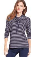 Jones New York Mock-neck Striped Drawstring Sweater - Lyst