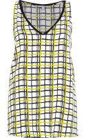 River Island White Check Print Tank Top - Lyst