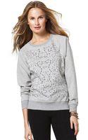 C&c California Cotton Blend Embellished Sweatshirt - Lyst