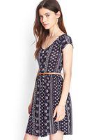 Forever 21 Cap Sleeve Printed Dress - Lyst