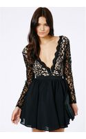 Missguided Dayana Black Lace Sleeve Puff Ball Dress - Lyst