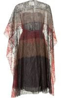 Valentino Silk Lace Colorblock Dress with Cape Sleeves - Lyst