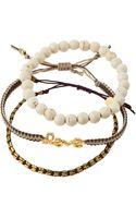 Tai Set Of Three Love Beaded Bracelets Whitebeige - Lyst