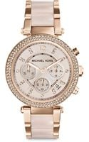 Michael Kors Rose Goldtonefinished Stainless Steel Sparkle Chronograph Bracelet Watch - Lyst