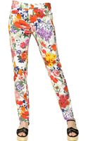 Moschino Cotton Satin Floral Trousers - Lyst