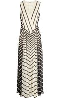 Halston Heritage Striped Georgette Gown - Lyst
