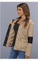 Vince Camuto Faux Leather Detail Quilted Jacket - Lyst