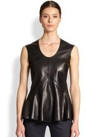 Derek Lam Leather Jersey Peplum Top - Lyst