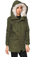 Kai Aakmann Cotton Gabardine Parka with Faux Fur - Lyst