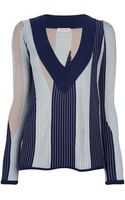See By Chloé Striped Vneck Sweater - Lyst