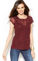 Inc International Concepts Embroidered Illusionsleeve Top - Lyst