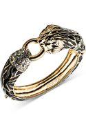 Anne Klein Goldtone Crystal Pave Lion Head Bangle Bracelet - Lyst