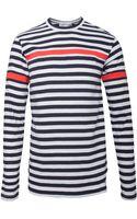 Comme Des Garçons Long Sleeved Striped Tshirt Navywhitered - Lyst