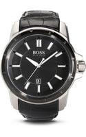 Hugo Boss Black Crocodile Leather Strap Quartz Watch - Lyst