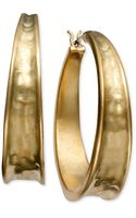 Lauren by Ralph Lauren Goldtone Hammered Hoop Earrings - Lyst