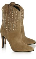 Saint Laurent Debbie Studded Suede Ankle Boots - Lyst