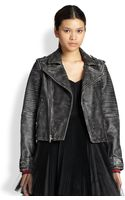 Marc By Marc Jacobs Distressed Leather Motorcycle Jacket - Lyst