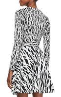 Diane Von Furstenberg Printed Fullskirt Silk Wrap Dress - Lyst