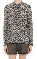Sea Leopard Dot Pattern Georgette Tie Neck Blouse - Lyst