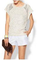 Pam & Gela Short Sleeve Studded Sweater - Lyst