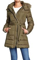 Old Navy Hooded Long Quilted Coats - Lyst